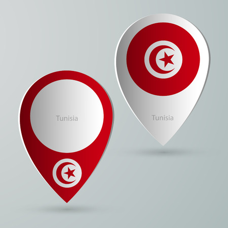 tourist guide: paper of map marker for maps and navigators tunisia