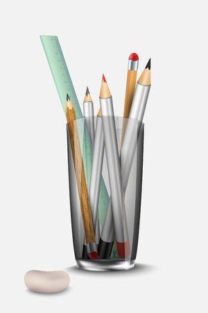 pot holder: stationery set pencil, eraser and ruler to the glass Illustration