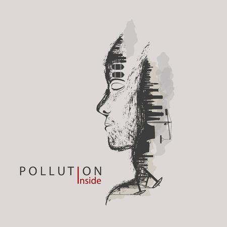 künstlerische Konzept der Umweltverschmutzung durch Fabriken gegen die Natur Vektorgrafik