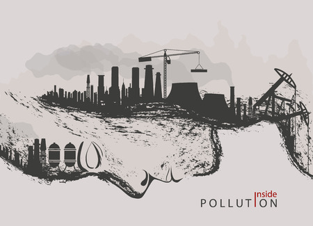 degradation: artistic concept of environmental pollution by factories against nature Illustration