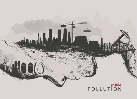 künstlerische Konzept der Umweltverschmutzung durch Fabriken gegen die Natur
