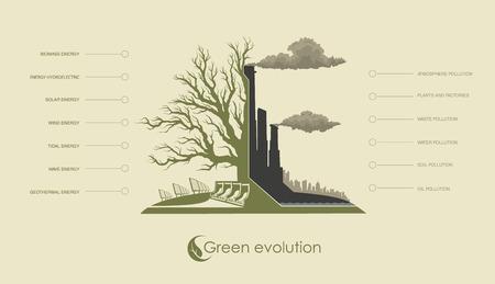 ilustración infografía de la contaminación del medio ambiente y las energías alternativas renovables Ilustración de vector