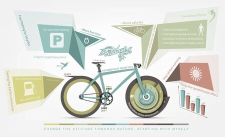 pedaling: infographics benefits of bicycle use for humans and the environment