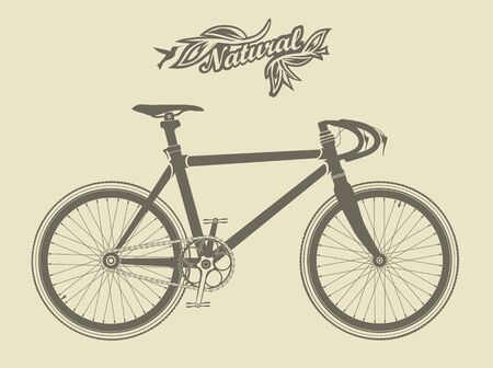 antiquated: Illustration of a vintage sport bike, with a bird and the inscription