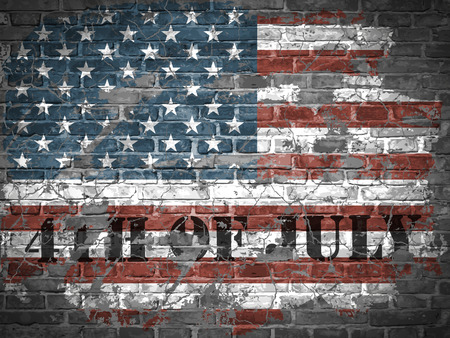 independance: The USA independence day illustration with flag on a brick wall Illustration