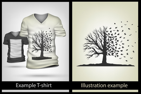 buterfly: example illustration on a T-shirt. buterfly tree