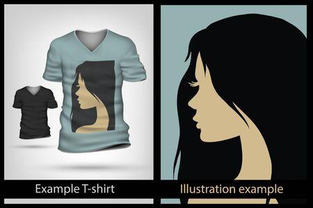 brunette: example illustration on a T-shirt. Brunette girl
