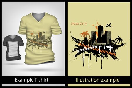 example illustration on a T-shirt. palm tree city