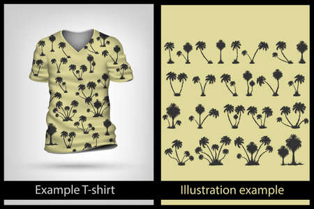 palm tree: example illustration on a T-shirt. palm tree Illustration