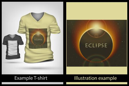 eclipse: example illustration on a T-shirt. eclipse solar
