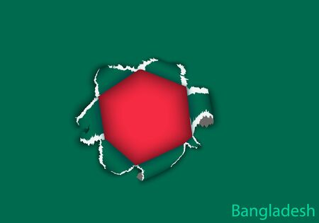 bangladesh: design flag from torn papers with shadows