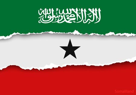 somaliland: design flag from torn papers with shadows