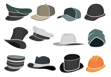 caps: set of colored flat hats military and civilian Illustration
