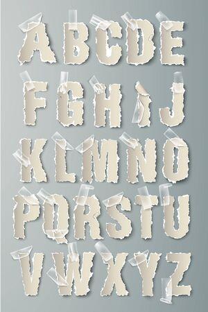 vector set alphabet torn paper with transparent tape