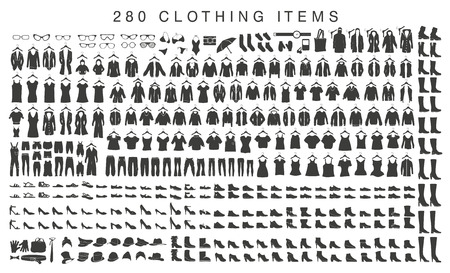 Set of isolated silhouettes of men and women clothing