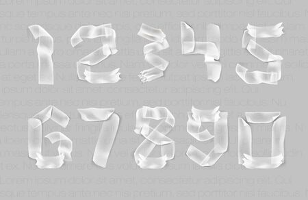 scotch: set of numbers from adhesive transparent tape