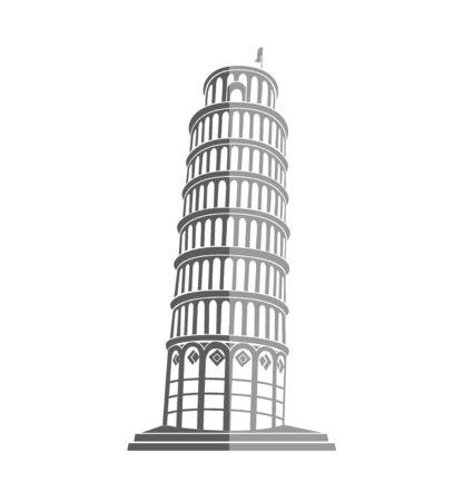 leaning tower of pisa: Leaning Tower of Pisa in Italy flat icon