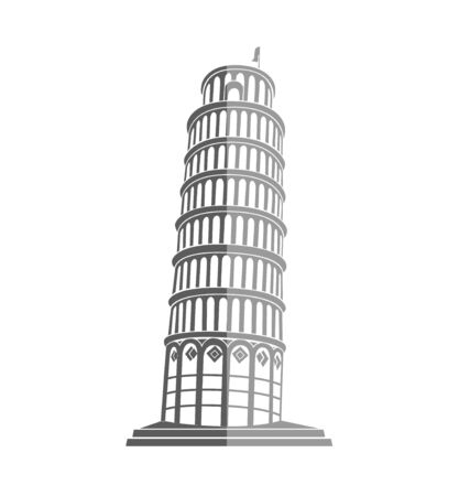 Leaning Tower of Pisa in Italy flat icon