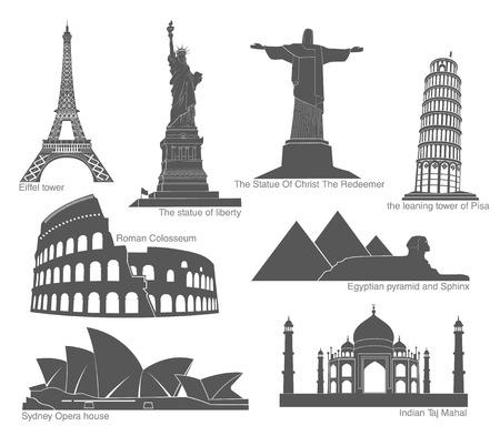set of landmarks in black with elements Illustration