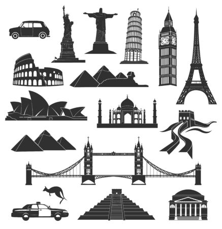 web design bridge: set of landmarks in black with elements Illustration