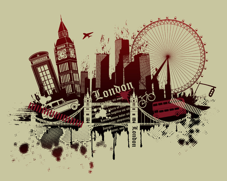 bus anglais: illustration des monuments de Londres dans le style grunge