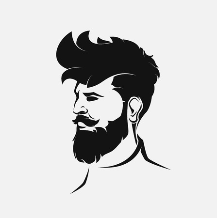 beard man: hipster male figure with beard and hair
