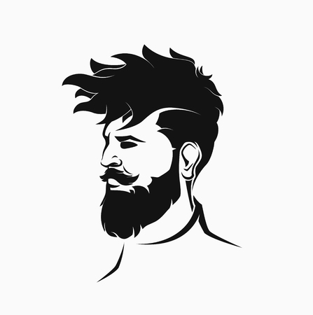 man with beard: hipster male figure with beard and hair