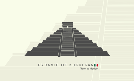 kukulkan: The Mayan pyramid of Kukulkan in Mexico Illustration