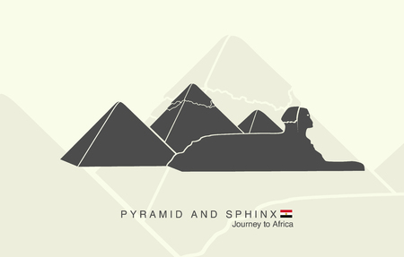 giza: shapes of the pyramids of Giza and the Sphinx