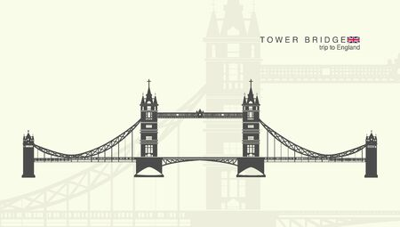 british culture: isolated figure of the tower bridge in London Illustration