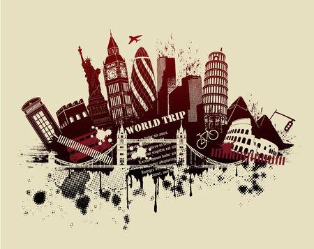 leaning tower of pisa: figures on international sites in grunge illustration Illustration