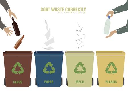 separacion de basura: concepto de la ecología y la correcta clasificación de los residuos hombre