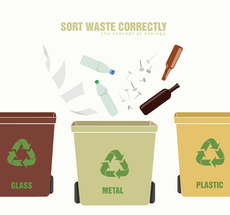 segregation: concept of ecology and correct sorting of waste man Illustration
