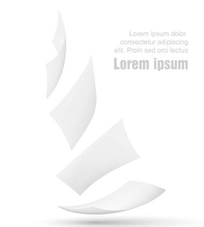 La caída de hojas de papel en el fondo blanco Ilustración de vector