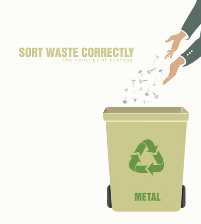 sorting: sorting metal, pollution of environment concept of waste