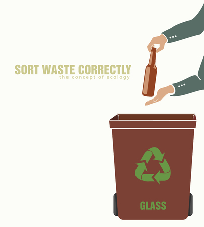 sorting: sorting glass, pollution of environment concept of waste Illustration