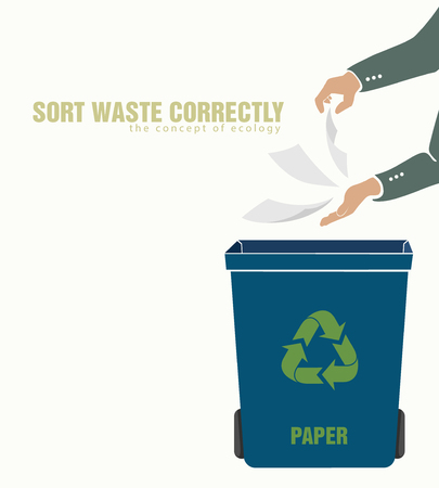 sorting: sorting paper, pollution of environment concept of waste Illustration