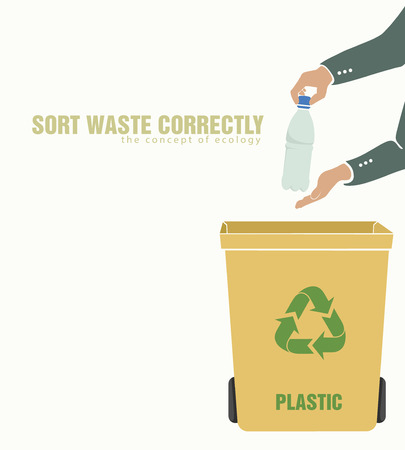 sorting plastic, pollution of environment concept of waste