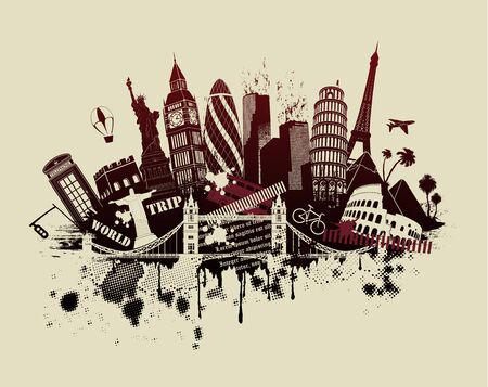 figures on international sites in grunge illustration Illustration