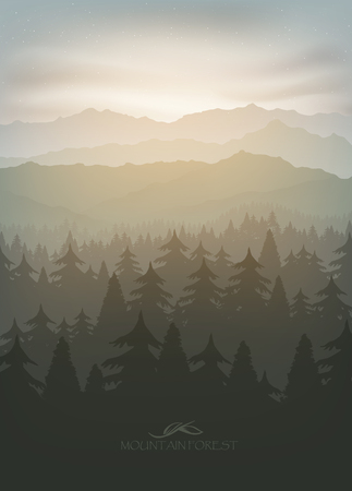 fog forest: mountain forest in fog and sunrise with stars Illustration