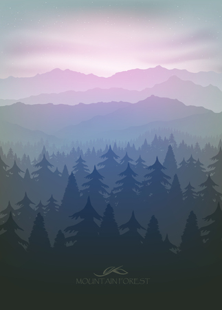 european alps: mountain forest in fog and sunrise with stars Illustration