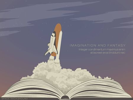 fantasy book: imagination literature, flying spaceship from an open book