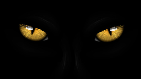 spooky eyes: yellow eyes black Panther on dark background Illustration