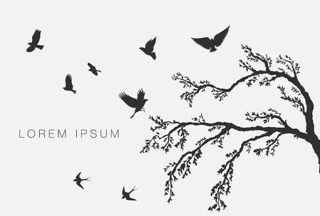 arbres silhouette: oiseaux volant sur une branche d'arbre