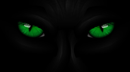green eyes black Panther on dark Çizim