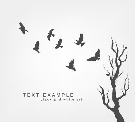 arbres silhouette: volée d'oiseaux