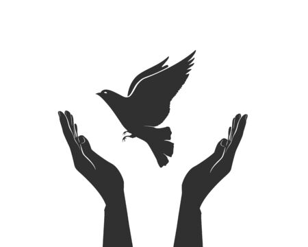 hands holding sign: care about world. concept of world without war hands and dove Illustration
