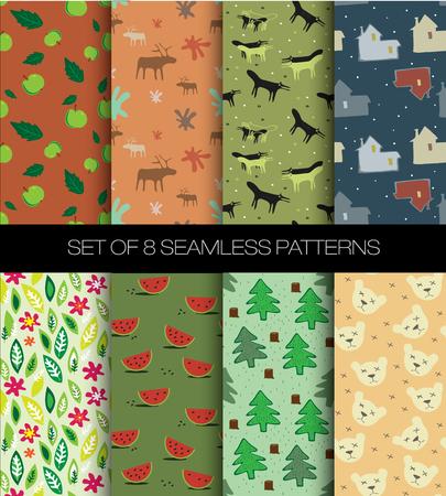 conjunto de patrones sin fisuras de frutas y animales y naturaleza