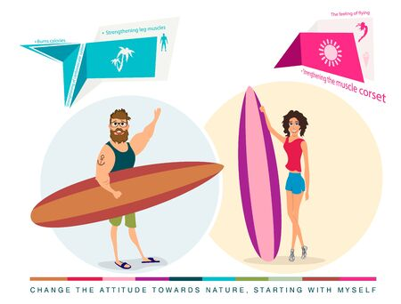 abdomen women: characters surfers girl and boy on white background Illustration