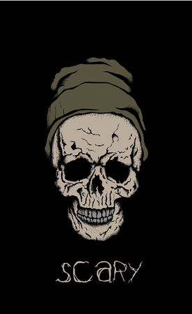criminal activity: scary skull in hat with branches on black background Illustration